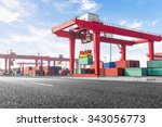 highway bridge and truck... | Shutterstock . vector #343056773