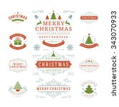 christmas labels and badges... | Shutterstock .eps vector #343070933