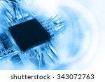 electronic integrated circuit... | Shutterstock . vector #343072763