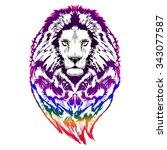lion psychedelic pop art | Shutterstock .eps vector #343077587