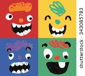 funny faces illustrations | Shutterstock .eps vector #343085783