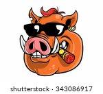 wild boar hog pig head...   Shutterstock .eps vector #343086917