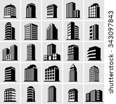 building vector icons set on... | Shutterstock .eps vector #343097843
