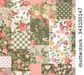 seamless floral patchwork... | Shutterstock .eps vector #343100147