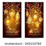 christmas toys on dark... | Shutterstock .eps vector #343133783