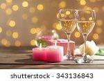 Glasses Of Wine  White Roses...