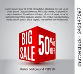 sale poster with 3d cube. sale... | Shutterstock .eps vector #343147067