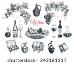 vector set of vine products.... | Shutterstock .eps vector #343161317