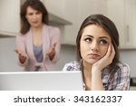 mother arguing with teenage... | Shutterstock . vector #343162337