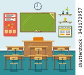 school classroom with... | Shutterstock .eps vector #343172957