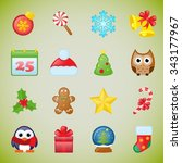 christmas icons set | Shutterstock .eps vector #343177967