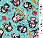cute christmas penguins... | Shutterstock .eps vector #343189307