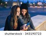 two beautiful women friends and ... | Shutterstock . vector #343190723