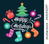 vector happy holidays lettering ... | Shutterstock .eps vector #343193297