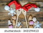 funny wooden christmas... | Shutterstock . vector #343194413