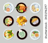 thai food icons set. shrimp and ... | Shutterstock .eps vector #343196297