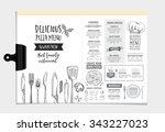 vector restaurant brochure ... | Shutterstock .eps vector #343227023
