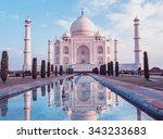 taj mahal in agra  uttar... | Shutterstock . vector #343233683