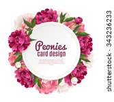 peony round frame card design... | Shutterstock .eps vector #343236233