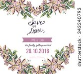 vector save the date card with... | Shutterstock .eps vector #343240793