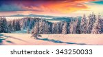 colorful winter sunrise in the... | Shutterstock . vector #343250033