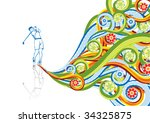 the golfer in abstract collage. ... | Shutterstock .eps vector #34325875