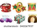 colorful christmas icons    Shutterstock .eps vector #343267937