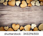 Background With Wooden  Hearts...