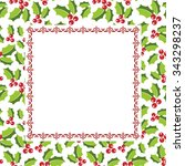 holly berry frame | Shutterstock .eps vector #343298237