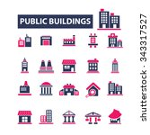 buildings  houses  icons  signs ... | Shutterstock .eps vector #343317527