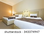 interior of a double bed hotel... | Shutterstock . vector #343374947