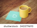 Paper With Love Icon And Coffe...