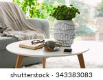 cup of coffee with biscuits on... | Shutterstock . vector #343383083