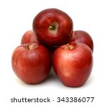 ripe red apple fruits isolated... | Shutterstock . vector #343386077