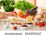 variety of spices in ceramic... | Shutterstock . vector #343395107