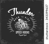 vintage motorbike race   hand... | Shutterstock .eps vector #343399637