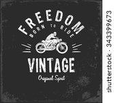 vintage motorbike race   hand... | Shutterstock .eps vector #343399673