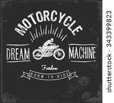 vintage motorbike race   hand... | Shutterstock .eps vector #343399823