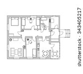black and white floor plan of a ... | Shutterstock .eps vector #343405217
