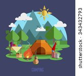 camping vector flat...   Shutterstock .eps vector #343432793