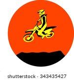 silhouette motocross jump rider ... | Shutterstock .eps vector #343435427