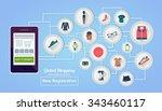 flat design banner online... | Shutterstock .eps vector #343460117