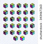 cubic alphabet set. vector... | Shutterstock .eps vector #343467263