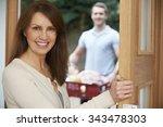 driver delivering online... | Shutterstock . vector #343478303