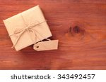 rustic gift box packed into... | Shutterstock . vector #343492457