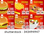 fast food restaurant menu... | Shutterstock .eps vector #343494947