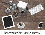 office stuff on table ... | Shutterstock . vector #343510967