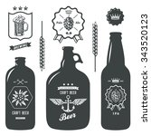 vintage craft beer bottles... | Shutterstock .eps vector #343520123