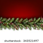 red card with fir branches.... | Shutterstock .eps vector #343521497
