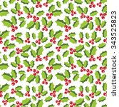 seamless holly berry pattern | Shutterstock .eps vector #343525823